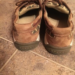 Sperry Topsiders Leather Leopard Girls